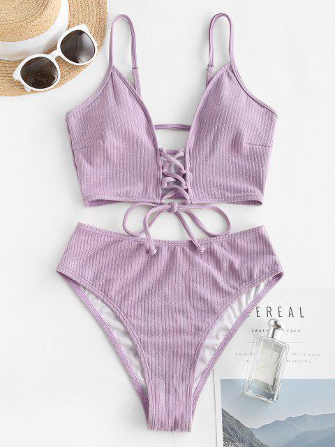 ZAFUL Maillot de Bain Tankini Côtelé Plongeant à Taille Haute à Lacets - Violet clair XL Mobile