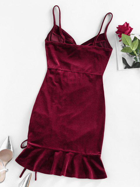 outfits ZAFUL Cinched Velvet Cami Mermaid Dress - RED WINE M Mobile