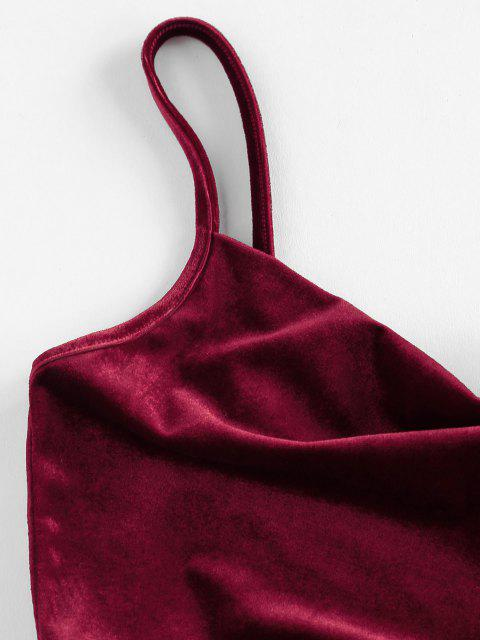 outfits ZAFUL Cinched Velvet Cami Mermaid Dress - RED WINE S Mobile