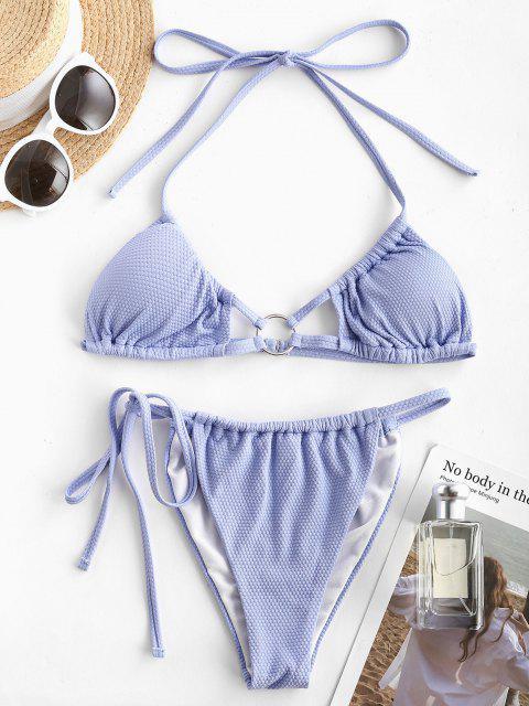 online ZAFUL Halter O-ring Gathered Tie Side Bikini Swimwear - LIGHT BLUE L Mobile
