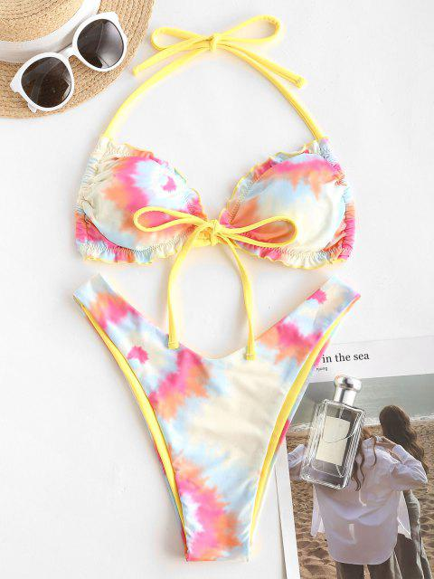 trendy ZAFUL Reversible Tie Dye Lettuce Trim Halter Cheeky Bikini Swimwear - YELLOW L Mobile