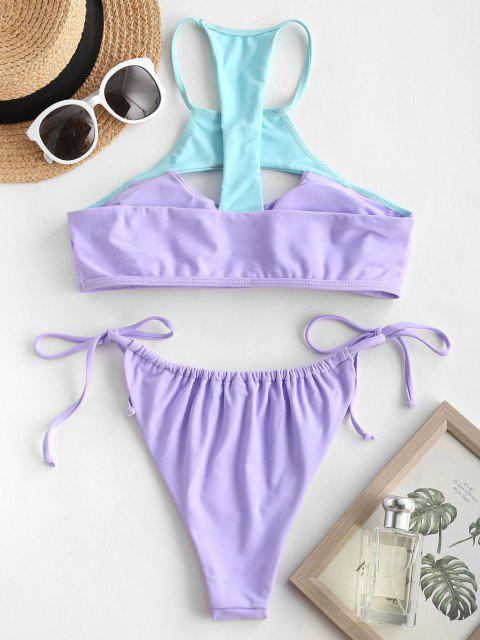 chic ZAFUL High Neck Bicolor Cutout Tie Side Bikini Swimwear - LIGHT PURPLE S Mobile