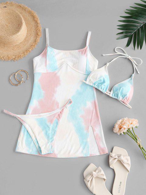 shops ZAFUL Tie Dye Halter Three Piece String Bikini Swimwear - MULTI S Mobile