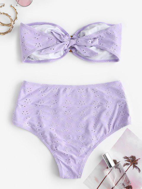 womens ZAFUL Broderie Anglaise O Ring Bandeau Bikini Swimwear - LIGHT PURPLE S Mobile