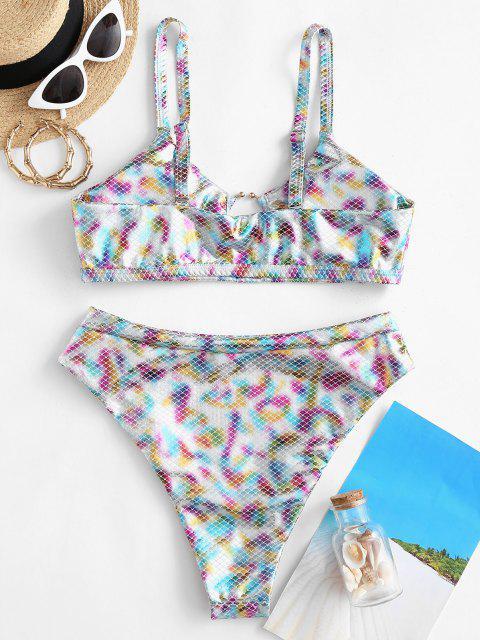 chic ZAFUL Metallic Scale Print Ring High Cut Bikini Swimwear - MULTI-A L Mobile