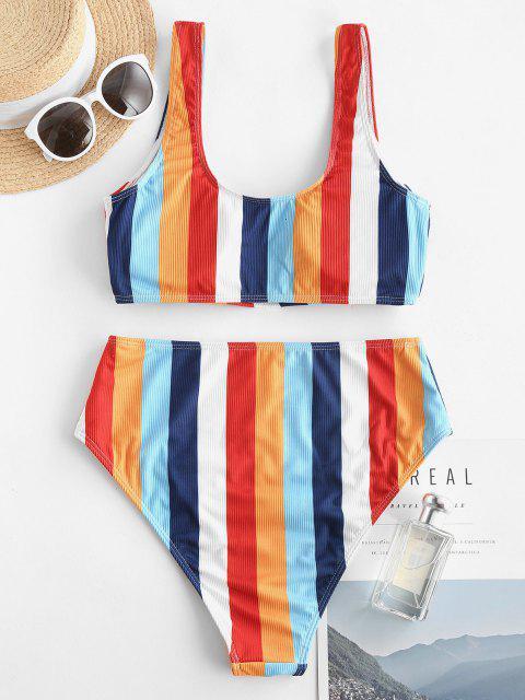 Costume da Bagno Bikini di ZAFUL a Vita Alta a Righe di Arcobaleno con Stampa Arcobaleno - Multi Colori S Mobile