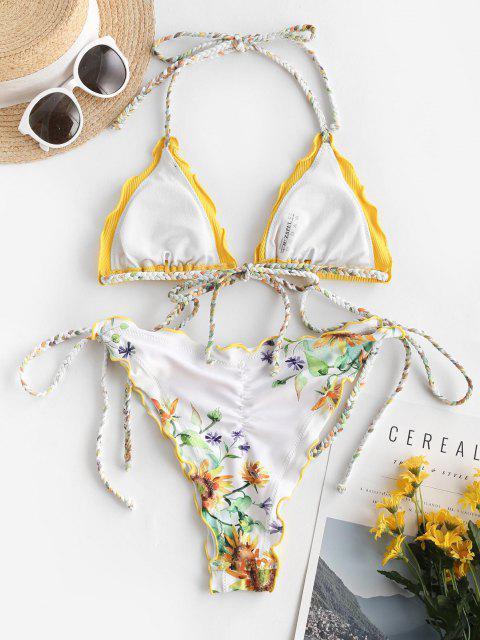 ZAFUL Costume da Bagno Bikini Annodato Intrecciato con Stampa Girasole - Giallo S Mobile