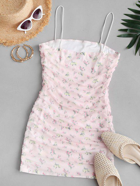 women's Flower Mesh Insert Ruched Bungee Strap Dress - LIGHT PINK M Mobile