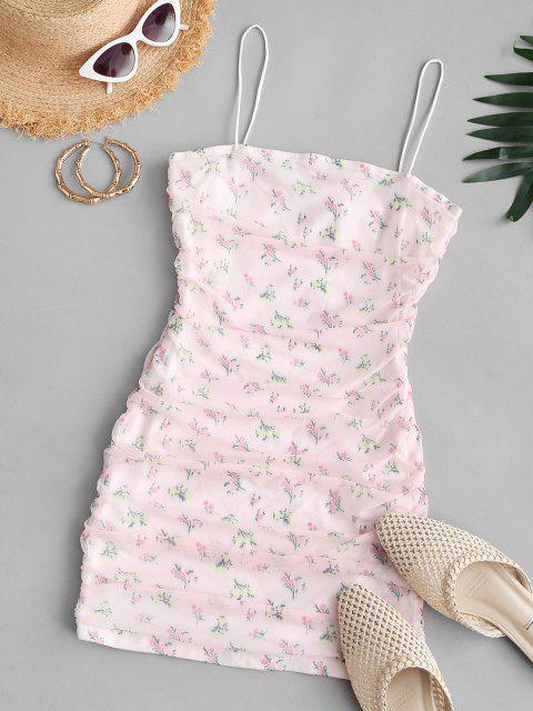 buy Flower Mesh Insert Ruched Bungee Strap Dress - LIGHT PINK L Mobile