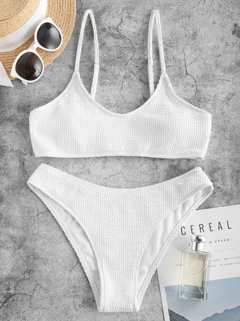 buy ZAFUL Wave Textured High Cut Bikini Swimwear - WHITE S Mobile