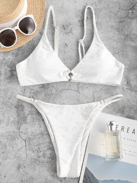 ZAFUL Einfarbige Öse Tanga Bikini Badebekleidung - Weiß S Mobile
