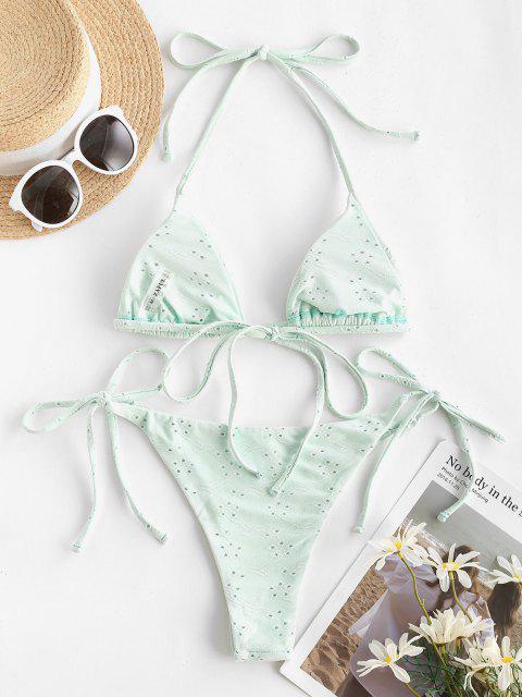 fancy ZAFUL Eyelet Multi-way Tie Side Tanga Bikini Swimwear - LIGHT GREEN S Mobile