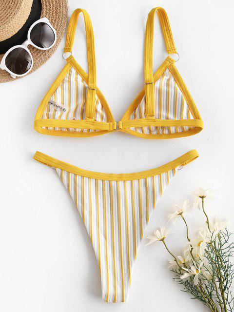women ZAFUL Textured Ribbed Striped Binding High Cut Bikini Swimwear - YELLOW M Mobile