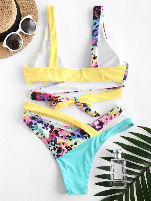 ZAFUL Costume da Bagno Bikini Incrociato e Surplice - Giallo S Mobile