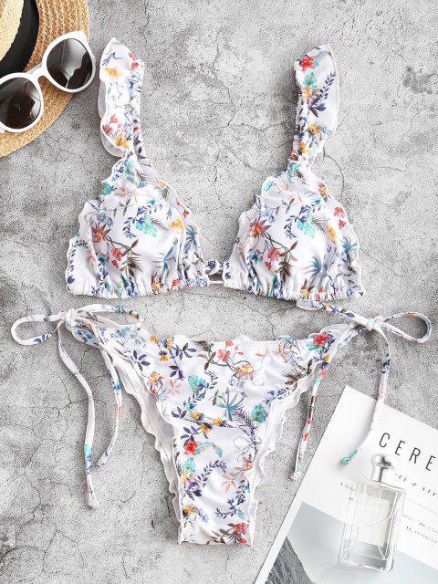 Costume da Bagno Bikini Annodato a Fiorellini con Volant di ZAFUL - Bianca S Mobile