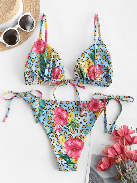Costume da Bagno Bikini Plunge Floreale con Nodo Laterale di ZAFUL - Multi Colori S Mobile