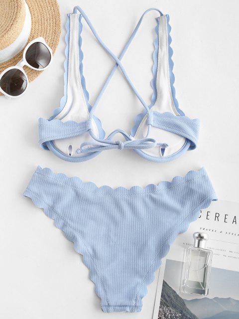new ZAFUL Plunge V Wired Scalloped Bikini Swimwear - LIGHT BLUE S Mobile