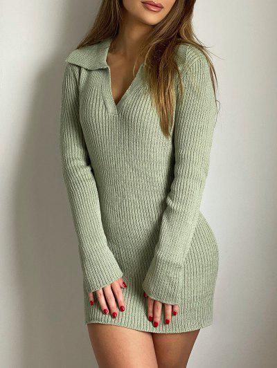 ZAFUL V Notched Mini Bodycon Sweater Dress - Light Green L