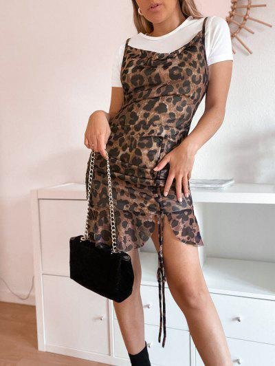 Cowl Neck Leopard Cinched Ruffle Mesh Dress - Coffee S