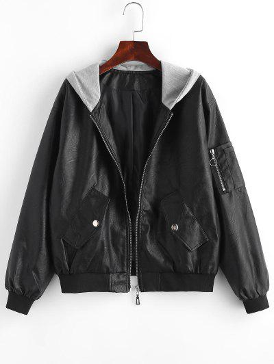 Zip Up Faux Leather Hooded Combo Jacket - Black M