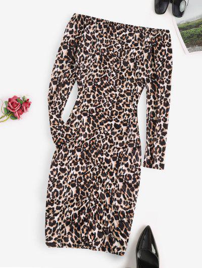 Robe Moulante Léopard à Epaule Dénudée à Volants - Noir M