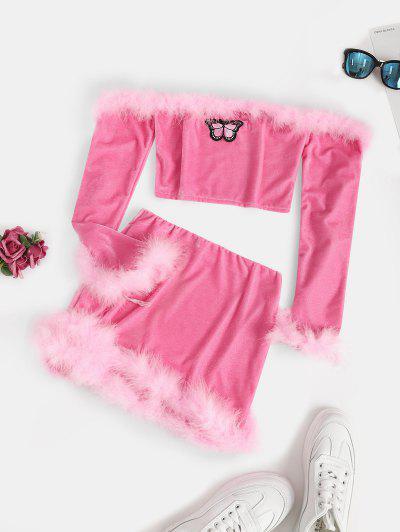 Feather Velvet Off Shoulder Two Piece Dress Set - Light Pink L
