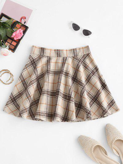 Checked Wool Blend Skater Skirt - Light Coffee M