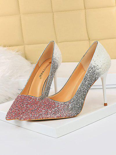 Gradient Glitter Stiletto Heel Shoes - Pink Eu 38