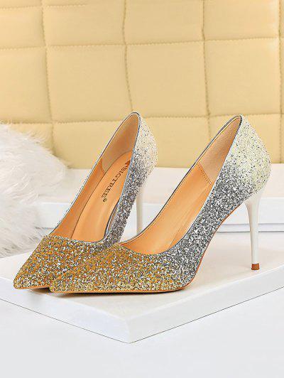 Gradient Glitter Stiletto Heel Shoes - Golden Eu 40