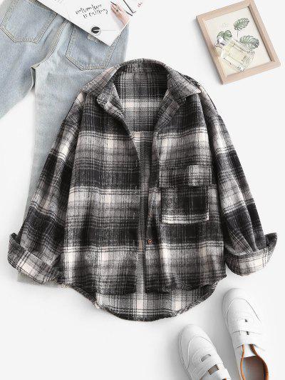 Front Pocket Plaid Houndstooth Flannel Shacket - Black S