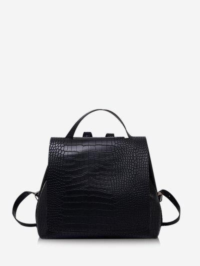 Textured Solid Square Cover Backpack - Black