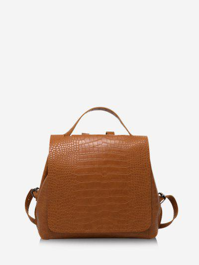 Textured Solid Square Cover Backpack - Brown