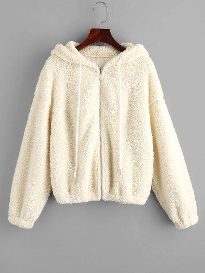 ZAFUL Hooded Zip Up Teddy Jacket - Warm White M