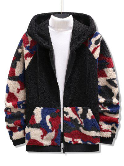 Hooded Camouflage Pattern Teddy Jacket - Black S