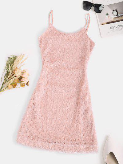 Plush Fuzzy Bodycon Cami Club Dress - Light Pink S