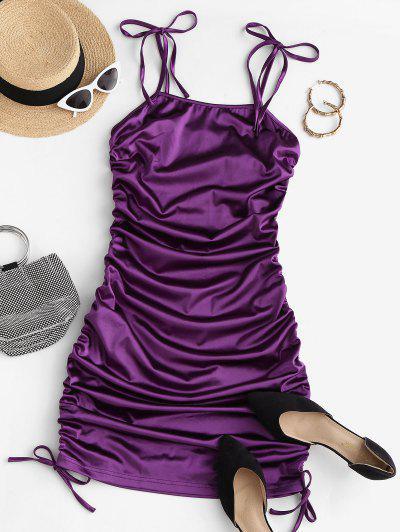 Tie Shoulder Cinched Bodycon Dress - Purple M