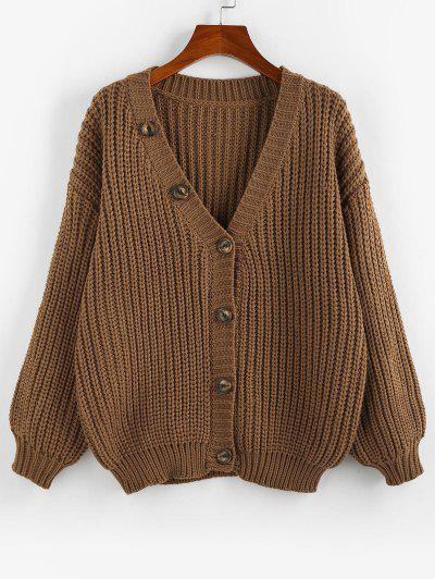 ZAFUL Drop Shoulder Ribbed Trim Button Up Cardigan - Coffee L