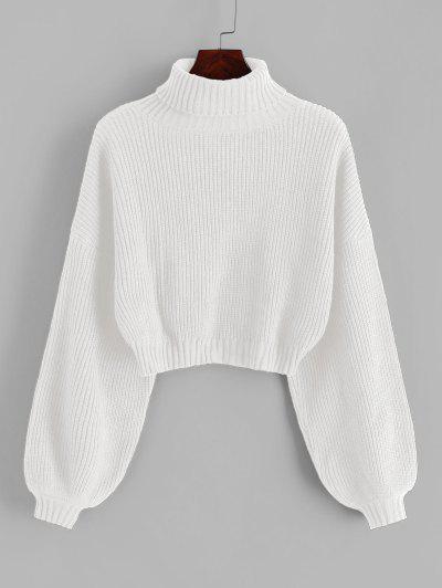 ZAFUL Turtleneck Lantern Sleeve Cropped Sweater - White M