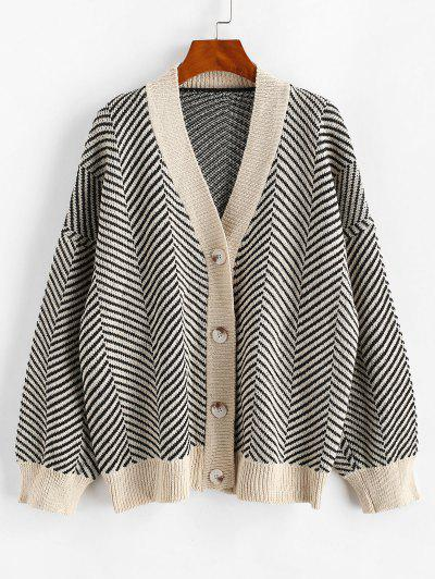 Button Up Stripes Oversized Cardigan - Black