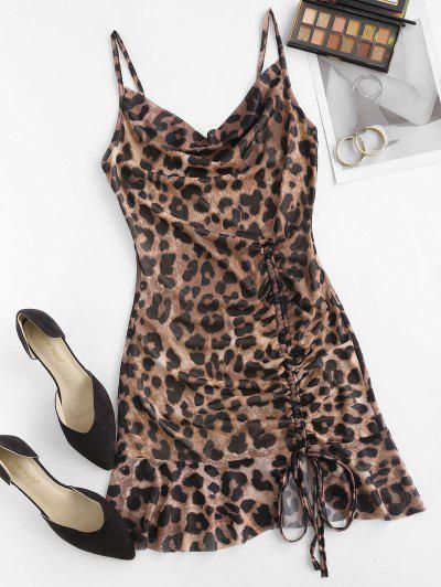 Cowl Neck Leopard Cinched Ruffle Mesh Dress - Coffee L
