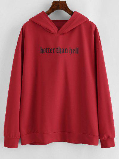 Drop Shoulder Graphic Animal Cattle Hoodie - Red Xl