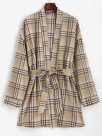 ZAFUL Belted Plaid Longline Robe Coat - Coffee S