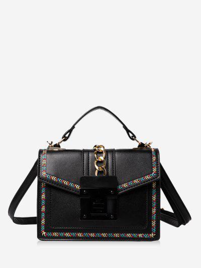 Colorblock Stitching Cover Crossbody Bag - Black