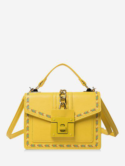 Colorblock Stitching Cover Crossbody Bag - Yellow