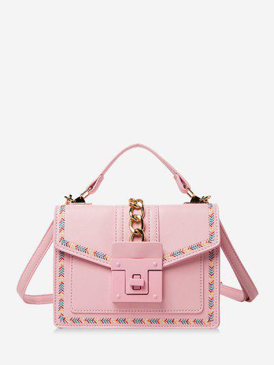 Colorblock Stitching Cover Crossbody Bag - Pink