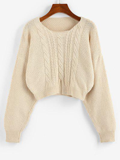 ZAFUL Cable Knit Slit Drop Shoulder Sweater - Light Coffee M
