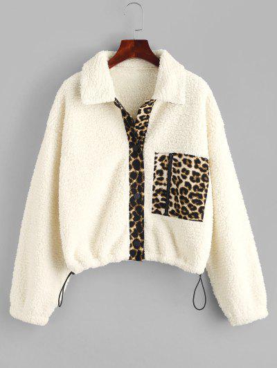 ZAFUL Pocket Leopard Print Teddy Coat - Warm White L