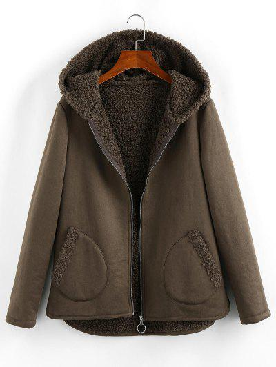 ZAFUL Hooded Teddy Lined Pocket Zip Up Coat - Taupe M