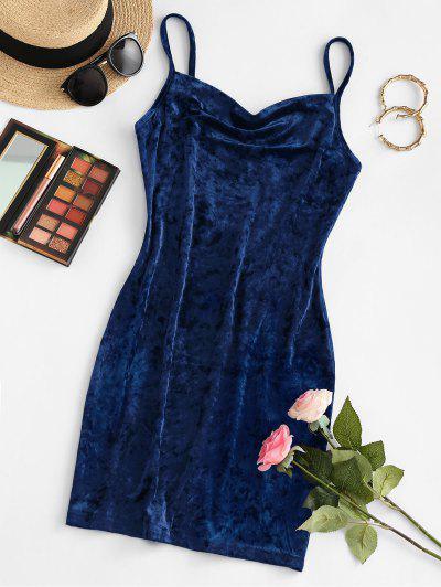 ZAFUL Mini Vestido De Capuz Frente Veludo Mini - Azul Escuro M