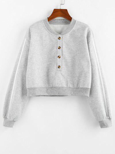 ZAFUL Fleece Lined Placket Drop Shoulder Taped Sweatshirt - Gray M